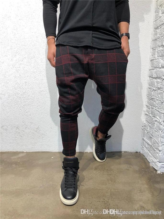 Drucken Plaid 3D Digital Herren Hose Sport Designer Mode Lange Hose mittlere Taillen-lose Kordelzug Herrenkleidung
