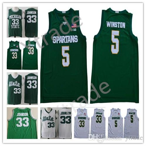 2020 Michigan State Spartans Cassius Winston College Basketball Jersey Ucuz 5. Cassius Winston Earvin Johnson Magic LA Yeşil Beyaz Dikişli