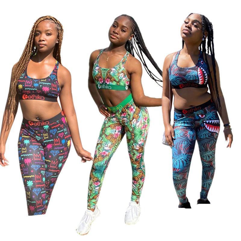 Les femmes à la mode Survêtement été imprimé floral soutien-gorge Gilet + Pantalon Legging Deux Piece Set Tenues Casual Mode Maillots de bain Vêtements de sport vente maillot de bain