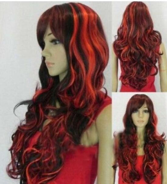 FREE SHIPPIN ++ + moda preto vermelho longo encaracolado cosplay peruca das mulheres