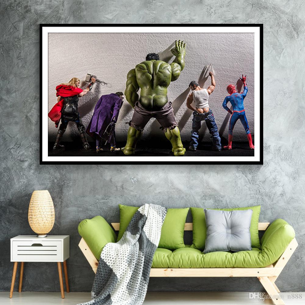 SUPERHEROS 5 الأعجوبة دي سي كوميكس النفط الفيلم الساخن زيتية على قماش لوحات الفن الحديث ديكور المنزل جدار صور لغرفة الجلوس 191002