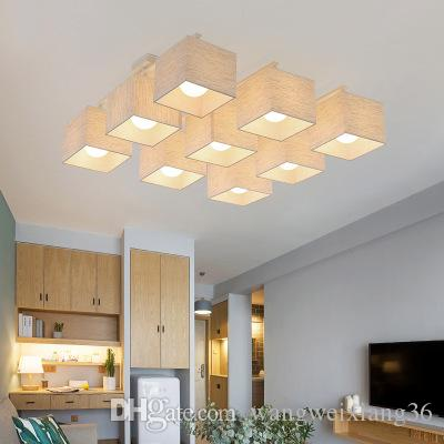LED Cloth Ceiling Lights square Lights light source E27 Fabric Lampshade White Black Ceiling Lamps for bedroom Living Room