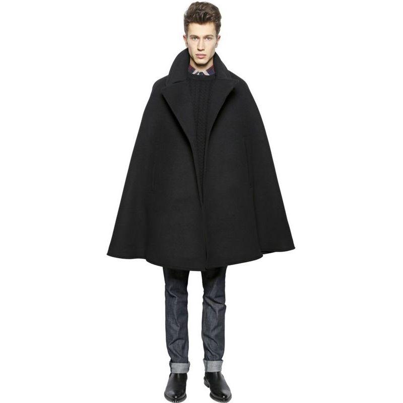 los hombres del club de hip-hop de la calle principal del estilo del mago del cabo del mantón de la personalidad de moda y estilo de invierno caen lana engrosada abrigo de tweed