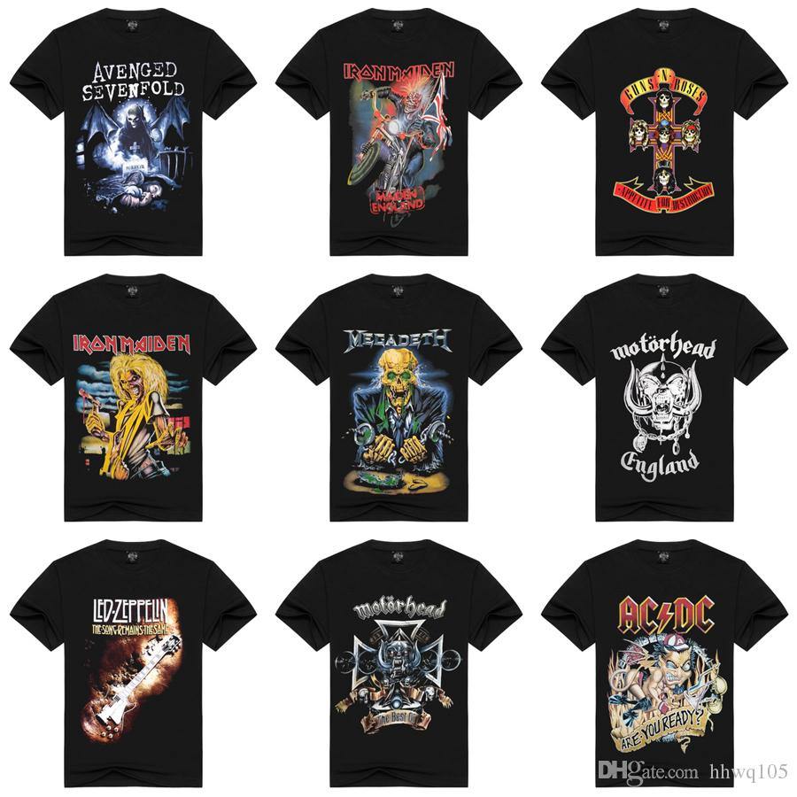 S-3XL Black 100% Cotton T-shirts For Men Metal Hard Rock Band Printing Vintage T-shirt High Quality Hip Hop Club Tee Short Sleeve HAH0301