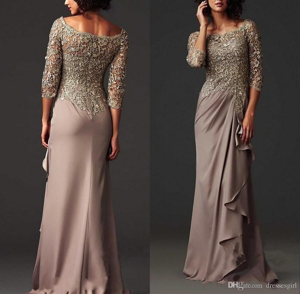 Arabe Modeste Dentelle Mère Robe élégante Scoop Cou Geath Mère des robes de la mariée Robe de soirée officielle