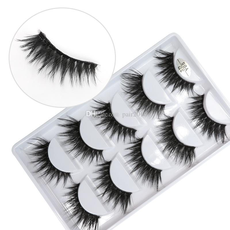3D-Y05 5pairs/set Y series transparent terrier False EyeLashes 5 Pairs 3D Natural soft silk Eyelashes Handmade eyelashes.
