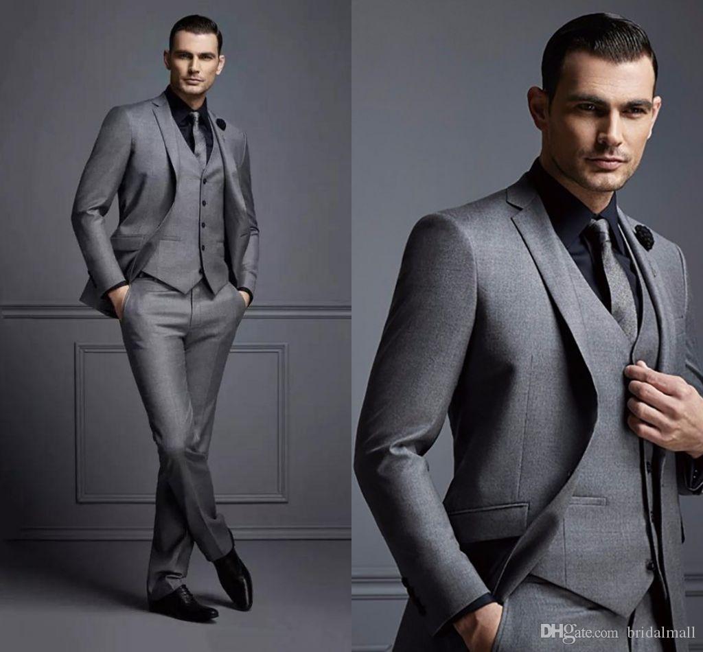 Laatste designs Dark Gray Mens Bruiloft Pakken voor Beste Mannen Slim Fit Bruidegom Tuxedos Drie Stuks Formele Business Diner Celebrity Blazer Coats
