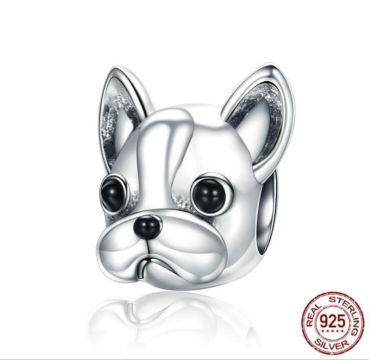 Reais 925 Sterling prata encantos Beads para Pandora Pulseiras cão Beads caber Encantos Pulseira DIY animal Jóias Bulldog Acessórios