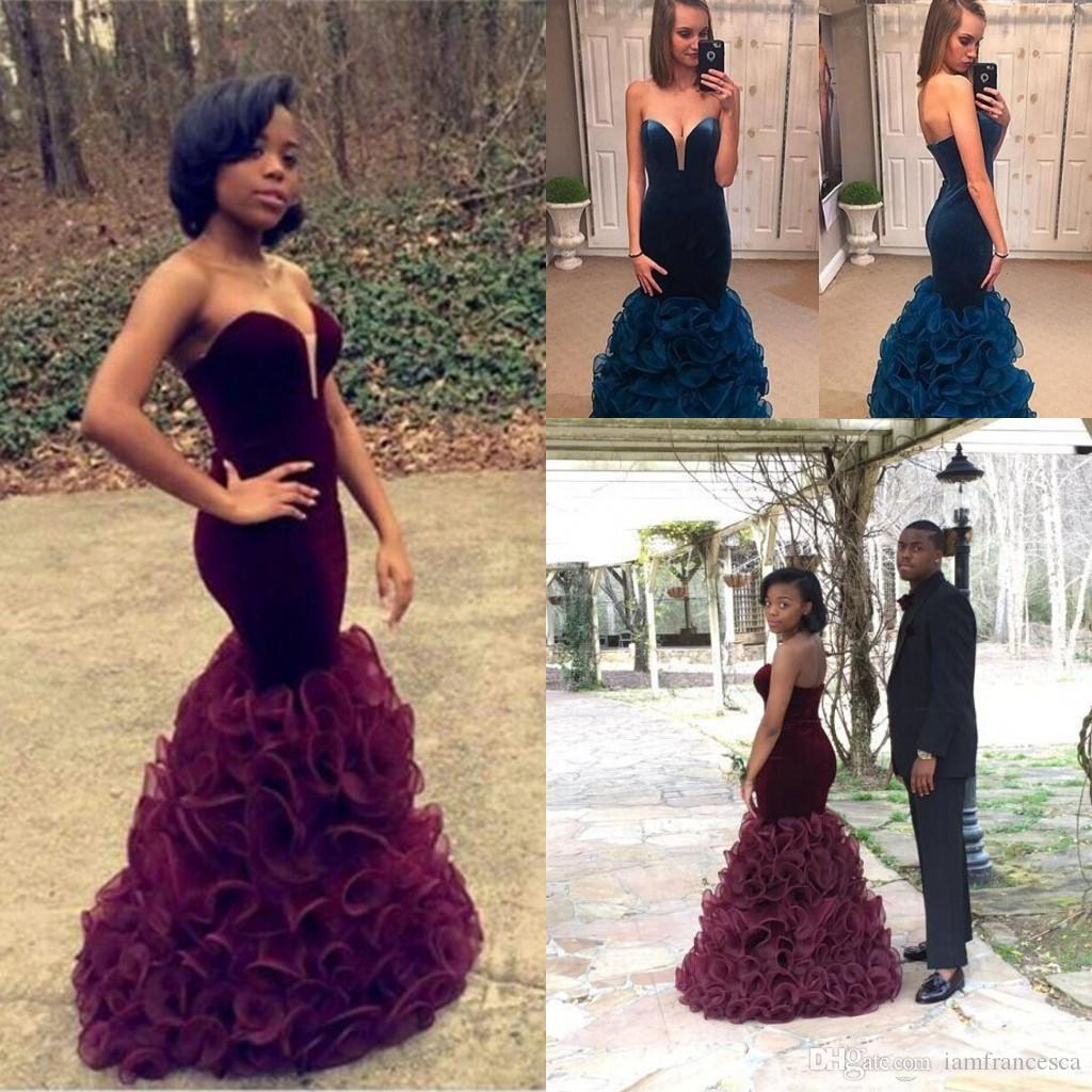 2019 Burgundy Mermaid Prom Dresses African Aso Ebi Valvet Sweetheart Ruffles Tiered Skirts Sexy Backless Long Evening Celebrity Gowns Newest