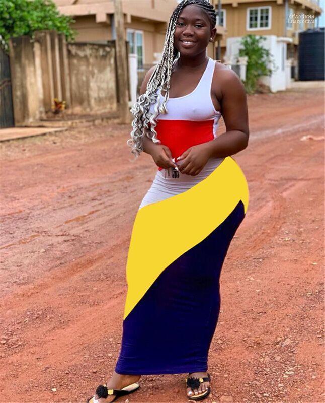 Scoop Neck manches femmes Robes d'été maigre femmes Vêtements décontractés Couleur Pabnelled Designer Robe moulante Mode