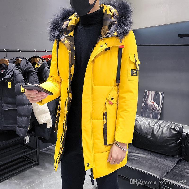2019 nuevos hombres de la moda s almohadilla de algodón gruesa chaqueta de lujo de la chaqueta de invierno cálido diseñador informal al aire libre a prueba de viento de gran tamaño sólido M-3XL