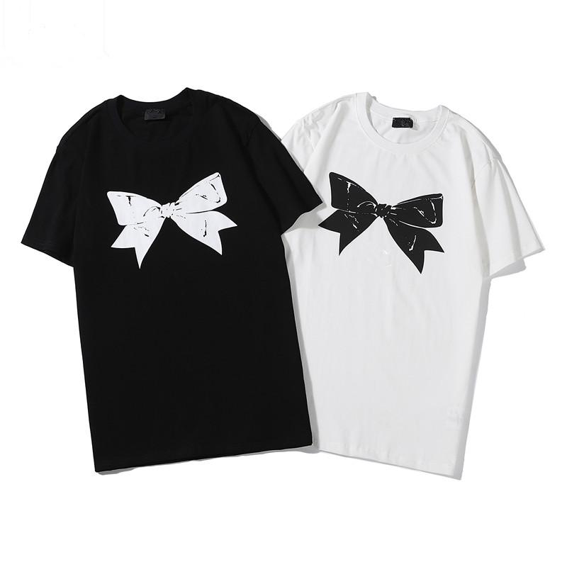 Summer Men Women T Shirts Brand Designer Tshirts Bow Printed Breathable Short Sleeve Mens Tops With Flowers Tee Shirts hip hop tops tees