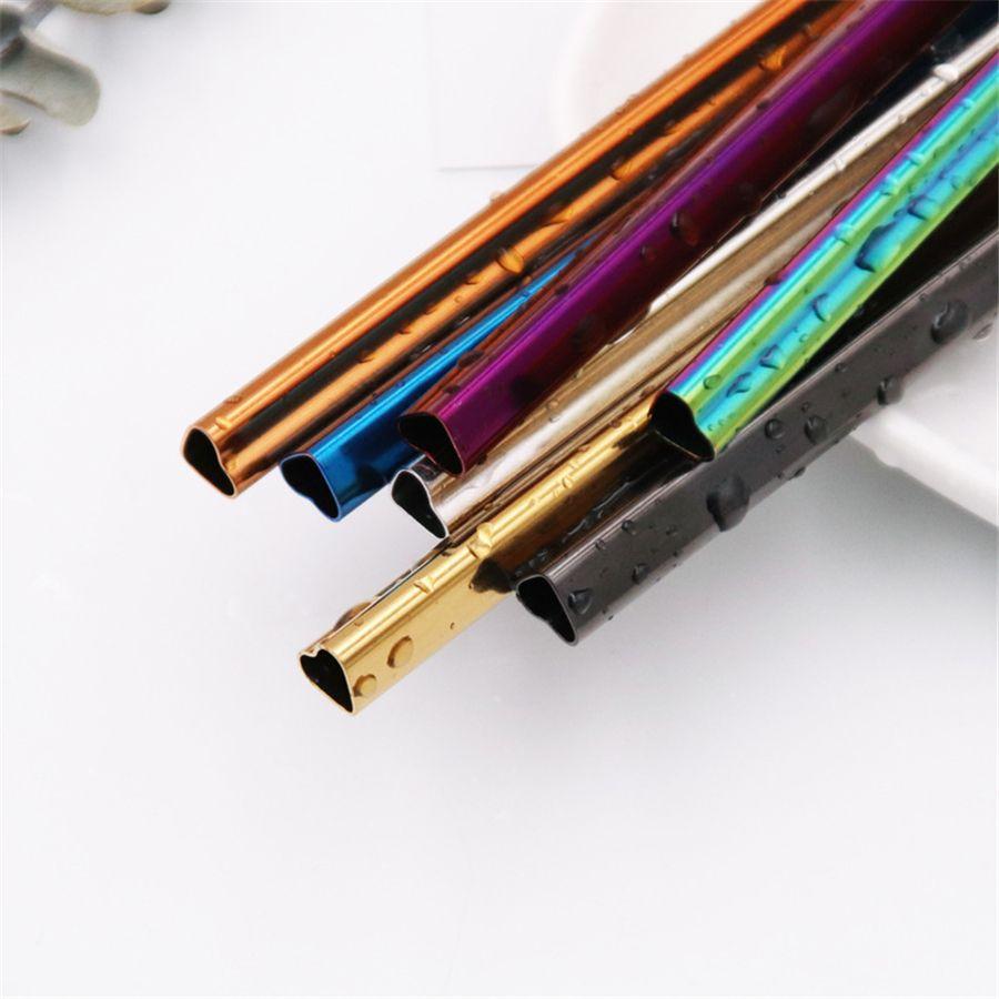 """8.5"""" Bere metallo dell'acciaio inossidabile Cannucce a forma di cuore riutilizzabile portatile E-co-friendly tubi colorati metallo paglia JK2006"""