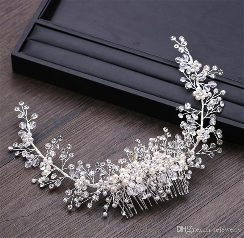 Vintage Wedding Bridal Comb Crystal Rhinestone Headpiece Pearl Crown Tiara Hair Accessories Jewelry Headdress Silver Head Chain Ornament