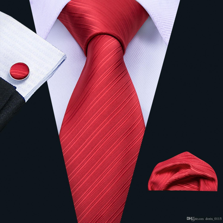 Fast Red Square bolsillo envío corbata a rayas gemelos conjunto de mayor caliente del partido para hombre de negocios que libera el envío N-5088