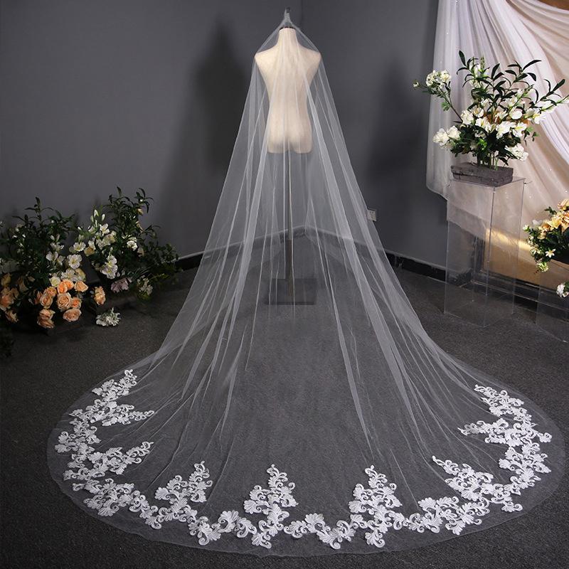 Veil de mariée de luxe de luxe 3 mètres d'image réel accessoires de mariage ivoire / voiles blancs pour la cathédrale de la mariée CPA3169