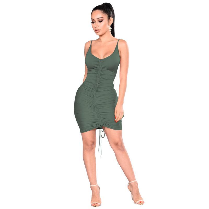 Verão Sexy Womens Ruched Vestido V Neck mangas Womens Sling Bodycon Vestido sólidos fêmeas cor do vestido ocasional