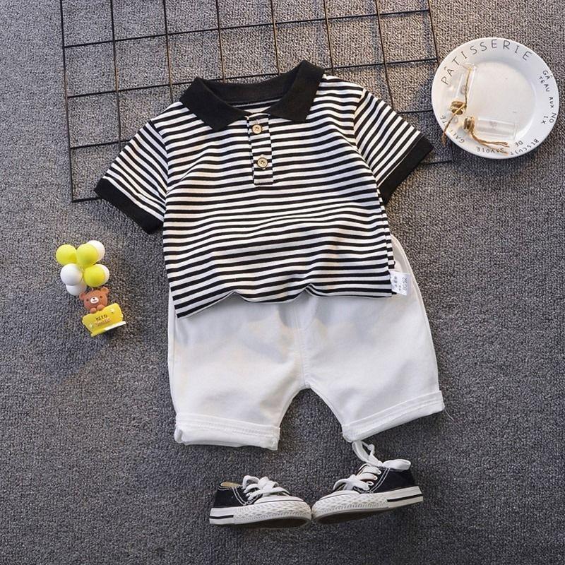 أسود الشريط الأبيض للأطفال مجموعات بولو نمط القطن تي شيرت وسروال البدلة طفلة الصيف بوي البدلة الطفل البدلة الرياضية