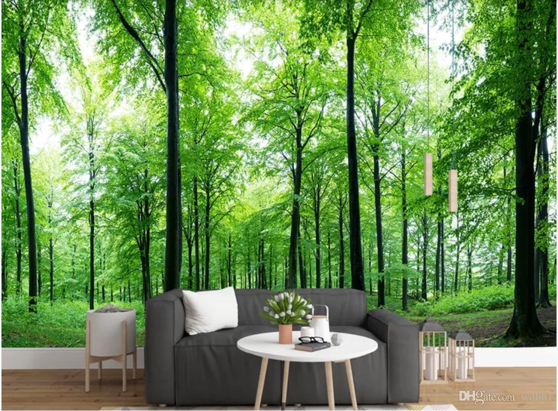 3d wallpaper benutzerdefinierte fototapeten Hintergrundwand Moderne frische grüne Wald Hintergrund Wand Naturlandschaft Wohnkultur Wandkunst Bilder