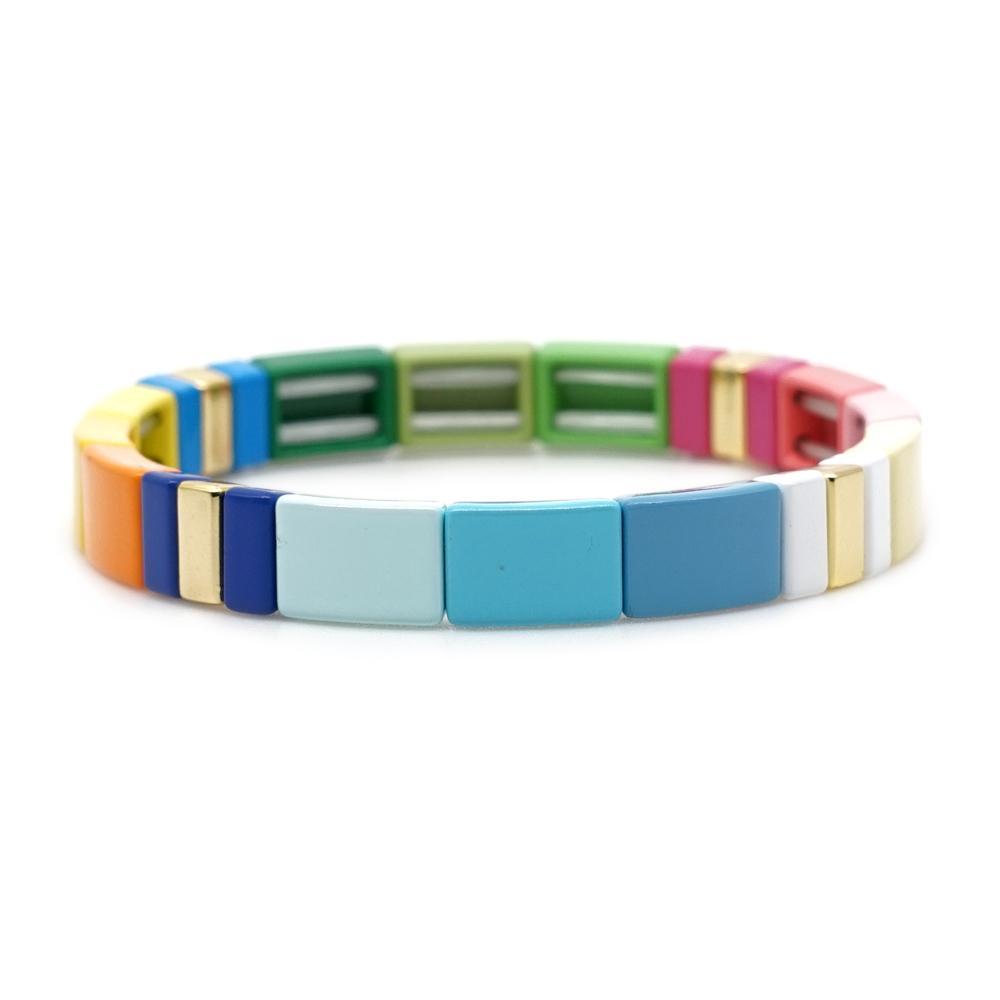 Shinus Bohemia pulseras del arco iris multicolor de perlas mujeres Azulejos pulsera Pulsera 2019 de la joyería de la aleación del esmalte de la playa de moda de verano