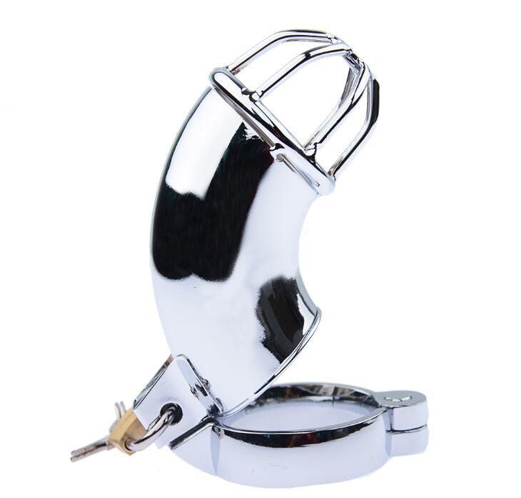 Masculina medio cerrado de acero inoxidable tipo Gallo pene Jaula Bondage Cinturón de castidad Dispositivo Gay BDSM juguete fetiche sexual
