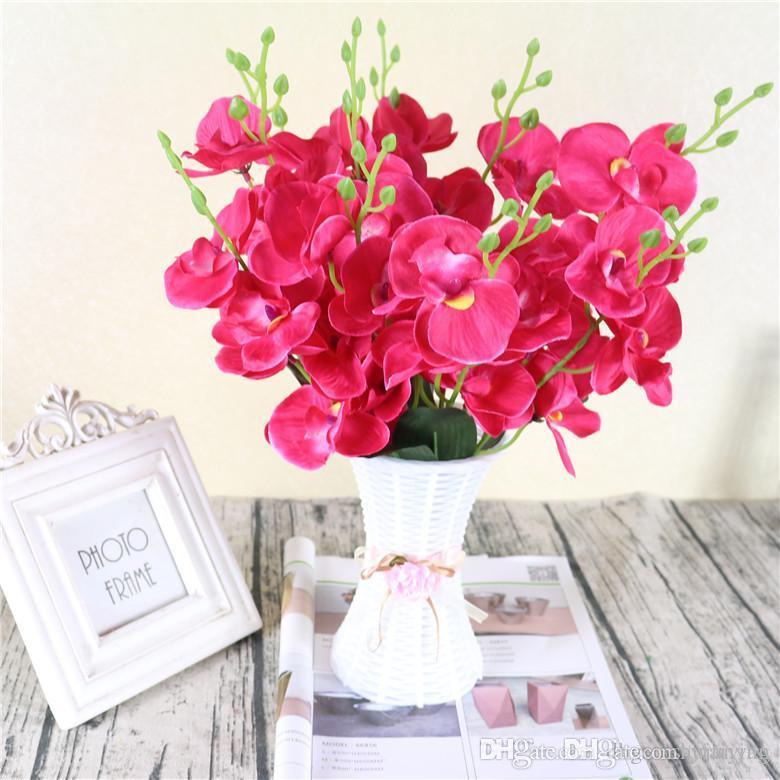 2pcs / lot realista de la mariposa artificial Flor de la orquídea Phalaenopsis seda hogar de la boda de bricolaje decoración flores falsas envío libre