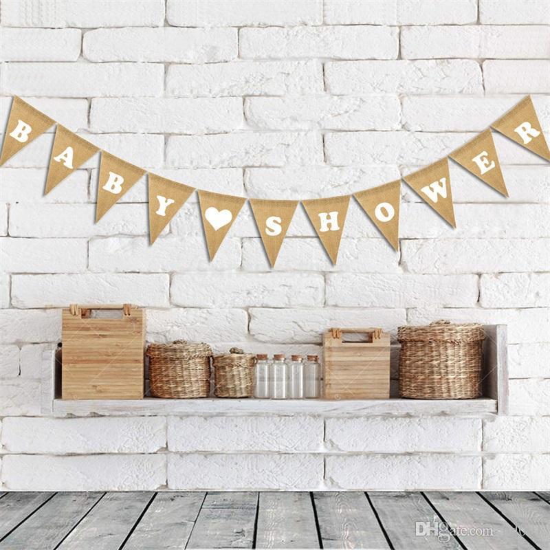 Dreieck-Pull-Flagge Burlap Flaggen-Partei-Dekoration Supplies Love Baby Shower Alles Gute zum Geburtstag Jungen-Mädchen-heißen Verkauf-kreativen 6dfC1