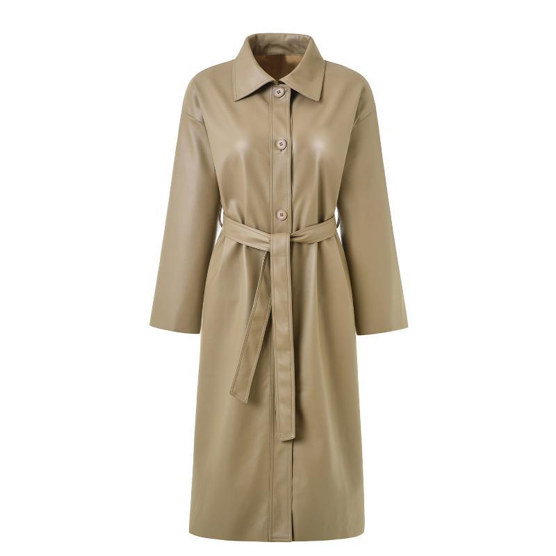 Bella Philosophie 2019 und Herbst Jacke Frauen Faux-Lederjacke Frauen Kleidung 2019 Lange Trench Coat Weiblich Streetbreaker