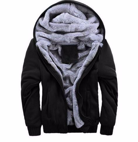 2019 New Hoodies Sweateshirts Men Winter Thick Plus Velvet Hoodies Jacket Parkas Casual Solid Streetwear Cardigan Coat