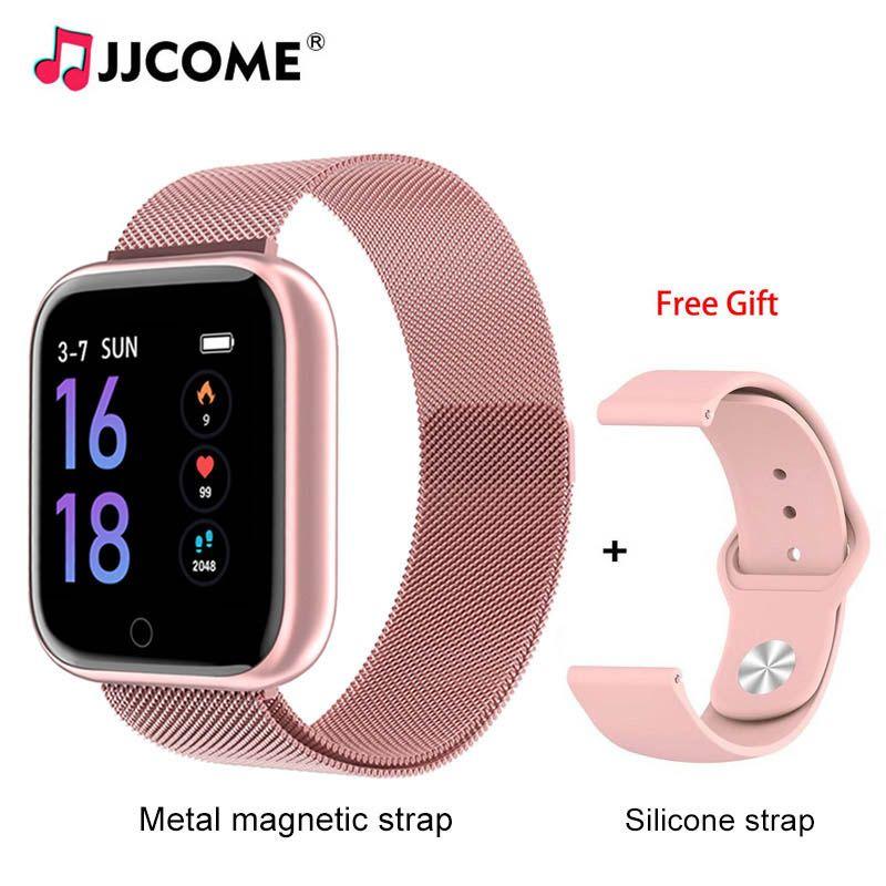 T80 relógio inteligente 1.3inch IP67 Bracelet Saúde Waterproof pressão 2 cintas de frequência cardíaca Sangue Medição Smartwatch de Fitness Rastreador Pulseira