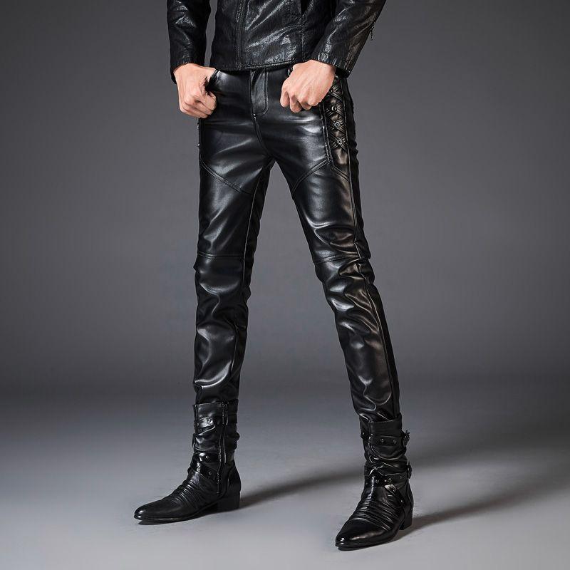 Punk Rock Men's Leather Pants Male Style Slim PU Leather Motorcycle Casual Pants for Men streetwear hip hop