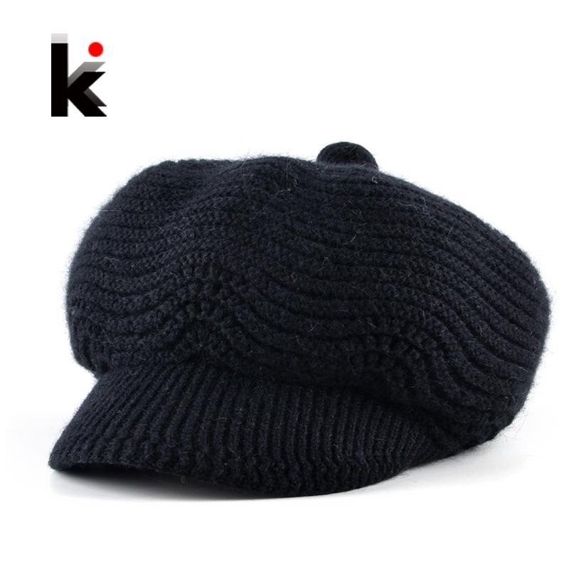 Fashion Newsboy Hats For Women Winter Knitted Rabbit Fur Berets Cap Ladies Add Velvet Double Layer Warm Gorros Boina Feminina