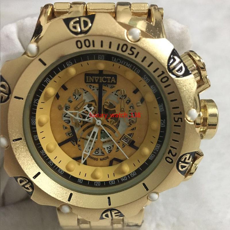 2020 الرجال ذات نوعية جيدة إنفيكتا ساعة GOLD الفولاذ المقاوم للصدأ حزام relogies الرجال ساعات الكوارتز ساعات المعصم للرجال relojes أفضل هدية الساخن بيع