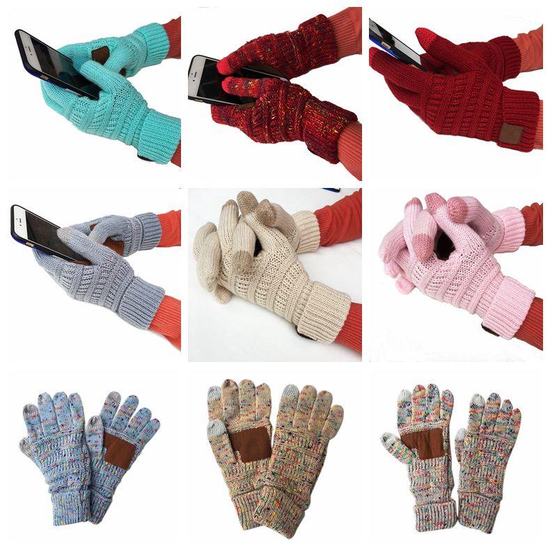 Écran tactile à tricoter Gants Gants d'hiver Gants capacitives femmes en laine chaude antidérapage Gant tricoté Telefingers Cadeaux de Noël de LJJA3181