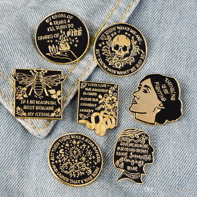 7 Styles Black Gold mysterious Enamel Pins Vintage gothic character avatar flowers Brooches Badge Jewelry Gifts for Friends