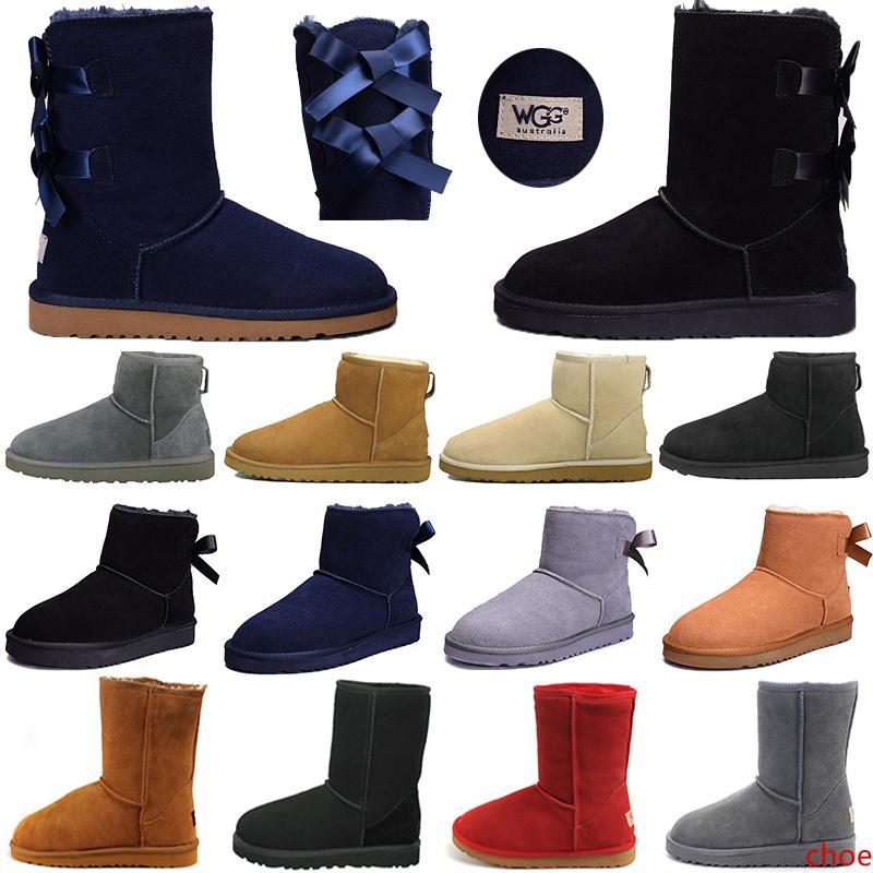 de WGG Mulheres Mini joelho Bailey Bow inverno ankle boots Designer booties Marca neve curtas altos Fitas Bowtie Bota 36-41 frete grátis
