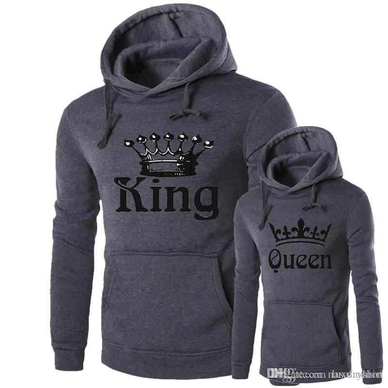 Women Queen Men King Hoodies Hooded Lovers Sweatshirts Match Fitness Casual Grey Pullovers