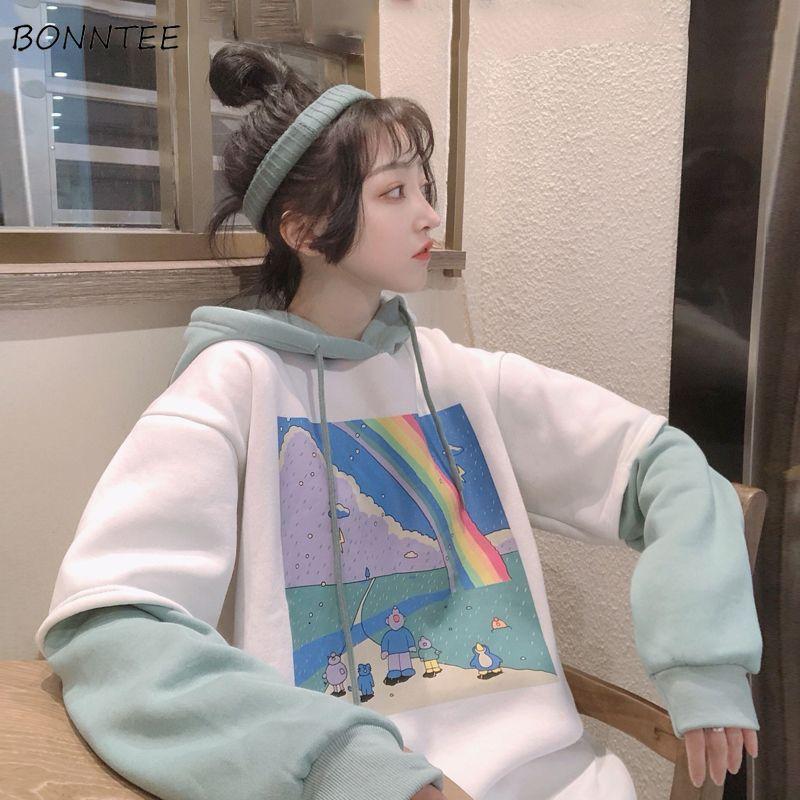 Hoodies Frauen gedrucktes Patchwork Hoody Einfach Dickere All-Gleiches lose einfacher koreanischer Art BF Schnür Frauen Street Hoodie Y200610