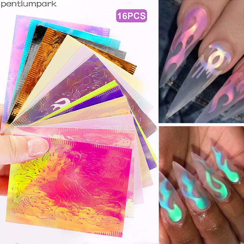Lot of 16 PCS Fire Nail Holographic Flame Stickers Hollow Nails Art Decal Manicure Tip,mixed colors