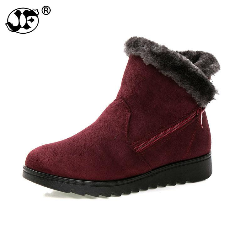 Winter Boots Women 2018 Zipper Ankel Boots For Women Wedges Ladies Casual Shoes Solid Snow Boots Bota Feminina hn89