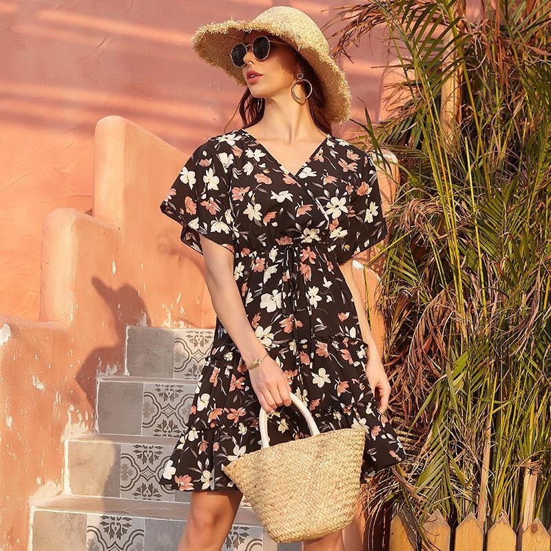 mujer diseñador dulce elegante vestido ocasional de la falda de gran tamaño
