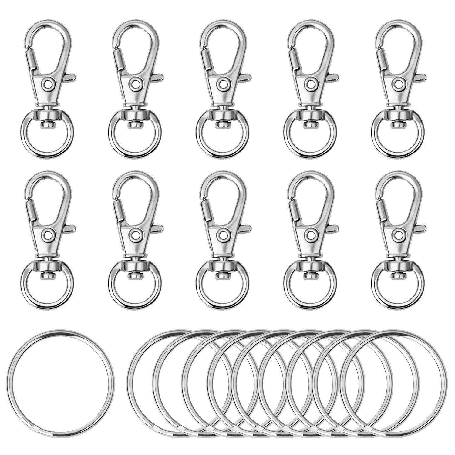 120pcs Swivel Lanyard Snap Hook Metal Lobster Clasp with Key Rings DIY Key Keyring Jewely Key Cheychain Key Chain Supplies Silver Color