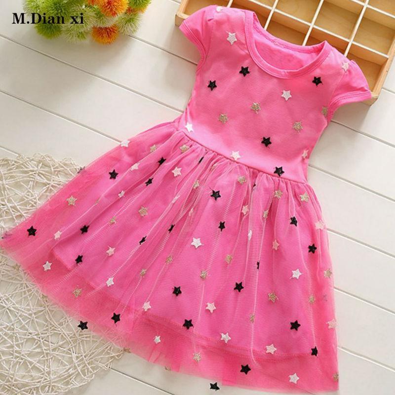 Kinder Stern Sequin Roter Kleid-Mädchen-Sommer 2020 neue Baby-Mädchen-Kleid-Prinzessin-Baby neugeborenes Kind