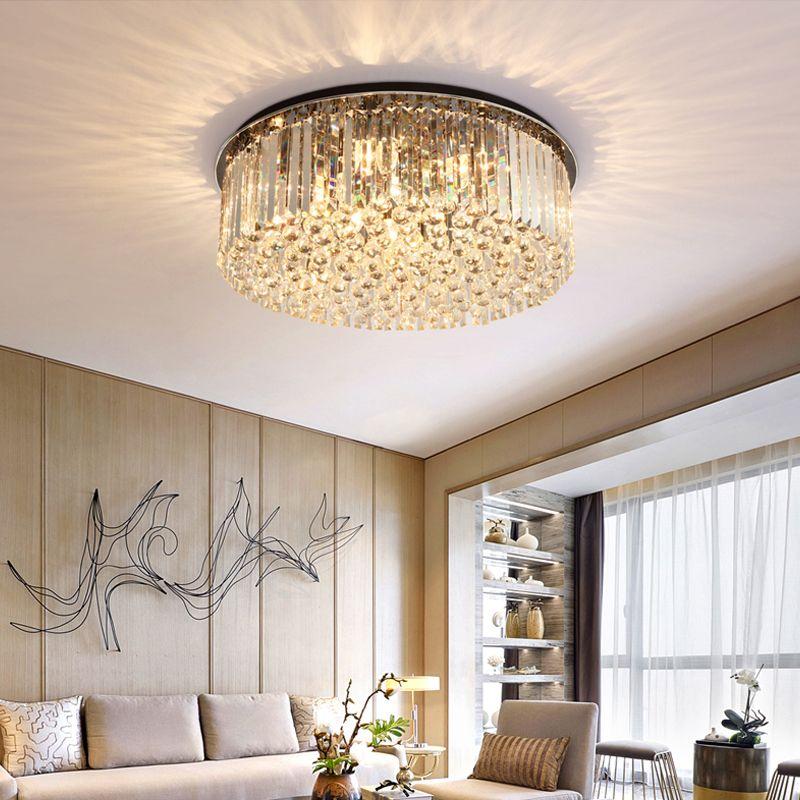 Neues Design moderne Luxus-Runde D 80cm x H 25cm Kristall-Kronleuchter Beleuchtung schwarz LED-Deckenleuchten für Villa Wohnzimmer Schlafzimmer Flur