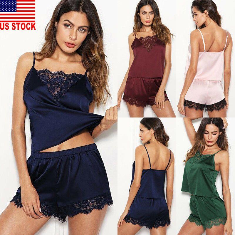 US Summer Women Sexy Pajamas Silk Pijamas Sleepwear Deep V Sling Lingerie Set
