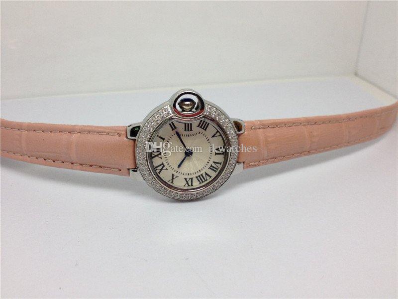 레이디 시계 스테인레스 스틸 쿼츠 시계 여성용 여성 손목 시계 가죽 스트랩 073에 대한 핑크 가죽 시계