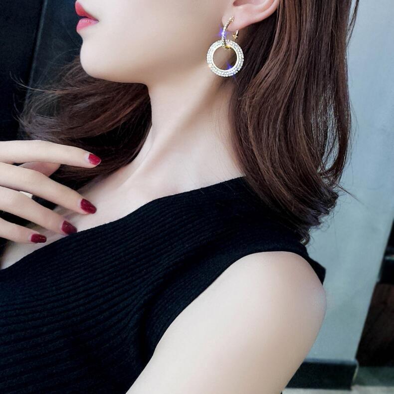 Moda-redondo cristalino Círculos Declaración gota cuelga los pendientes para las mujeres de Corea pendientes de la manera joyería de oro / plata geométrica