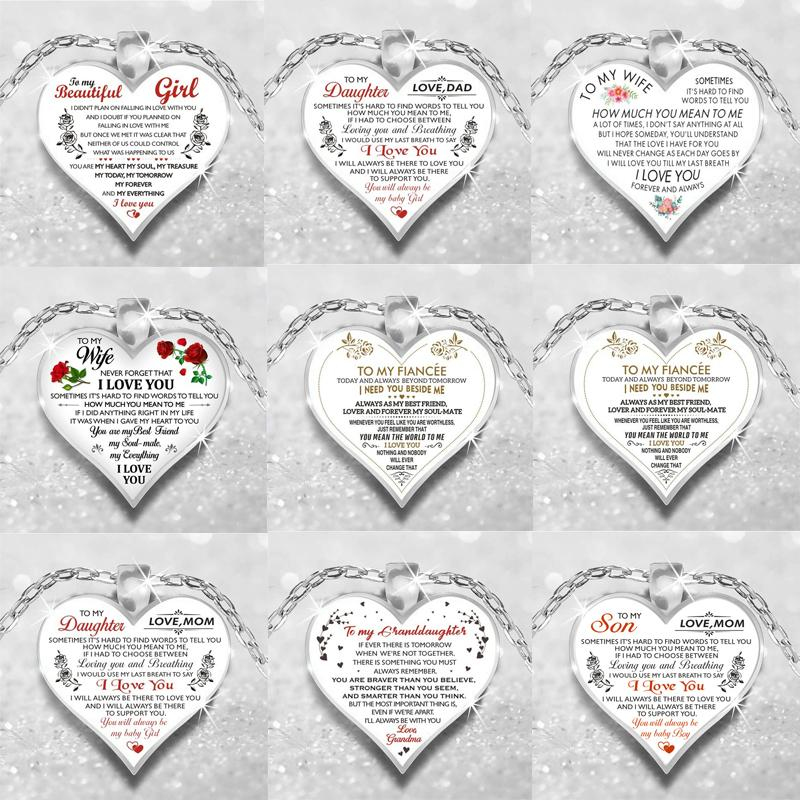 Multistyle Brief Herz-Anhänger Halskette Geschenk für Familie Lieber Frauen Männer Herz-Halskette Modeschmuck Zubehör für Geschenk