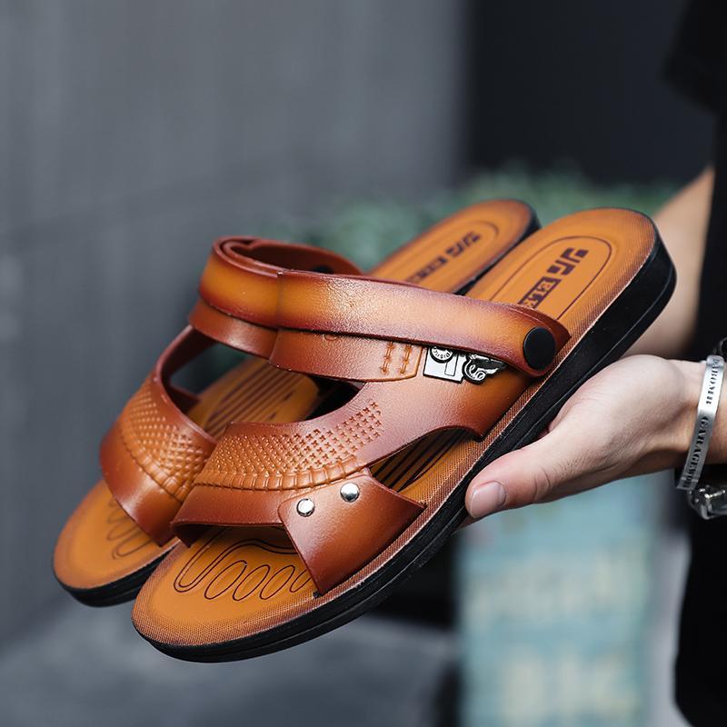 Cuoio dell'unità di elaborazione della spiaggia di estate sandali degli uomini antisdrucciolevoli walking outdoor scarpe Per Uomo Caviglia-Sposta Infradito superiore Sandalias Hombre