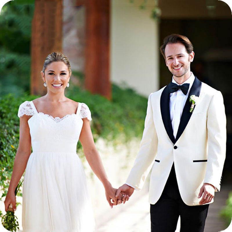 Beyaz Damat Smokin Slim Fit Terno Masculino Kostüm Homme Erkekler Suits Düğün Man Blazers Erkek Kıyafet Kıyafetler 2piece (Coat + Pantolon)